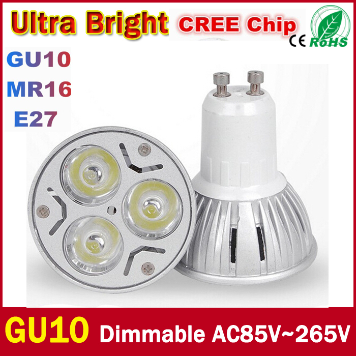 Wholesale High power CREE Led Lamp 9W 12W 15W Dimmable GU10 Led spot Light Spotlight led bulb Cold warm white Free shipping(China (Mainland))