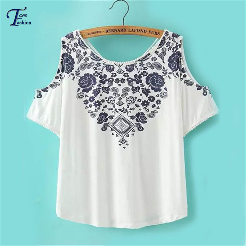 Vintage Summer Ladies Brand Cheap Tops 2015 New High Street White Off the Shoulder Round Neck Floral Print Short Sleeve Blouse(China (Mainland))