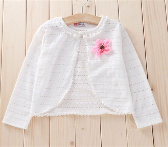 Newest fashion pink white yellow girls knit cardigan long sleeve cotton girl coat for 2 12