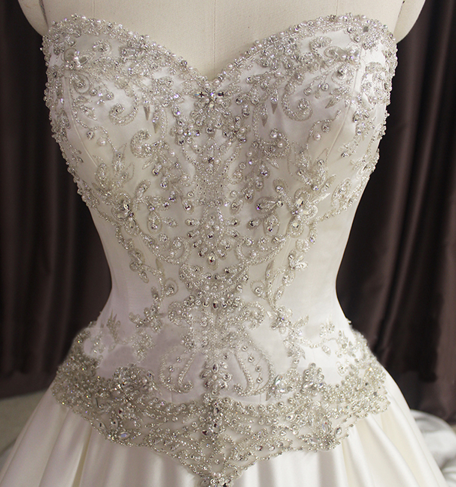 wedding dress pearls beaded sweetheart corset back real sample bridal