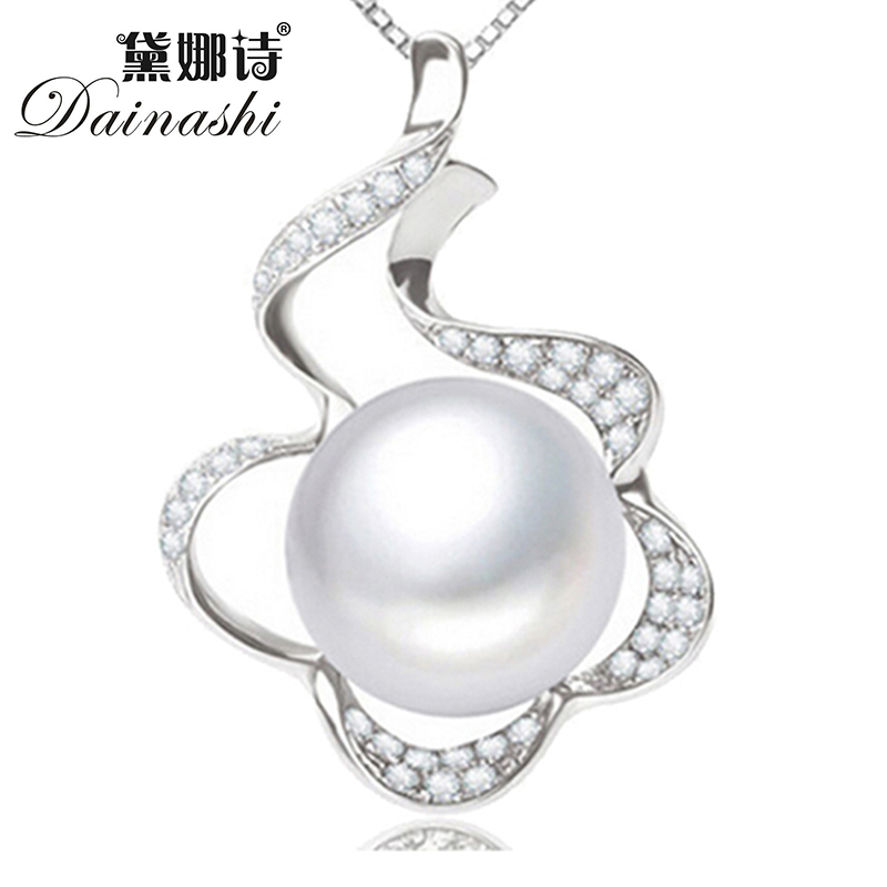 100% natural freshwater pearl 925 sterling silver pendant necklace for women fine jewelry fashion big 12-12.5 mm pearl jewelry(China (Mainland))