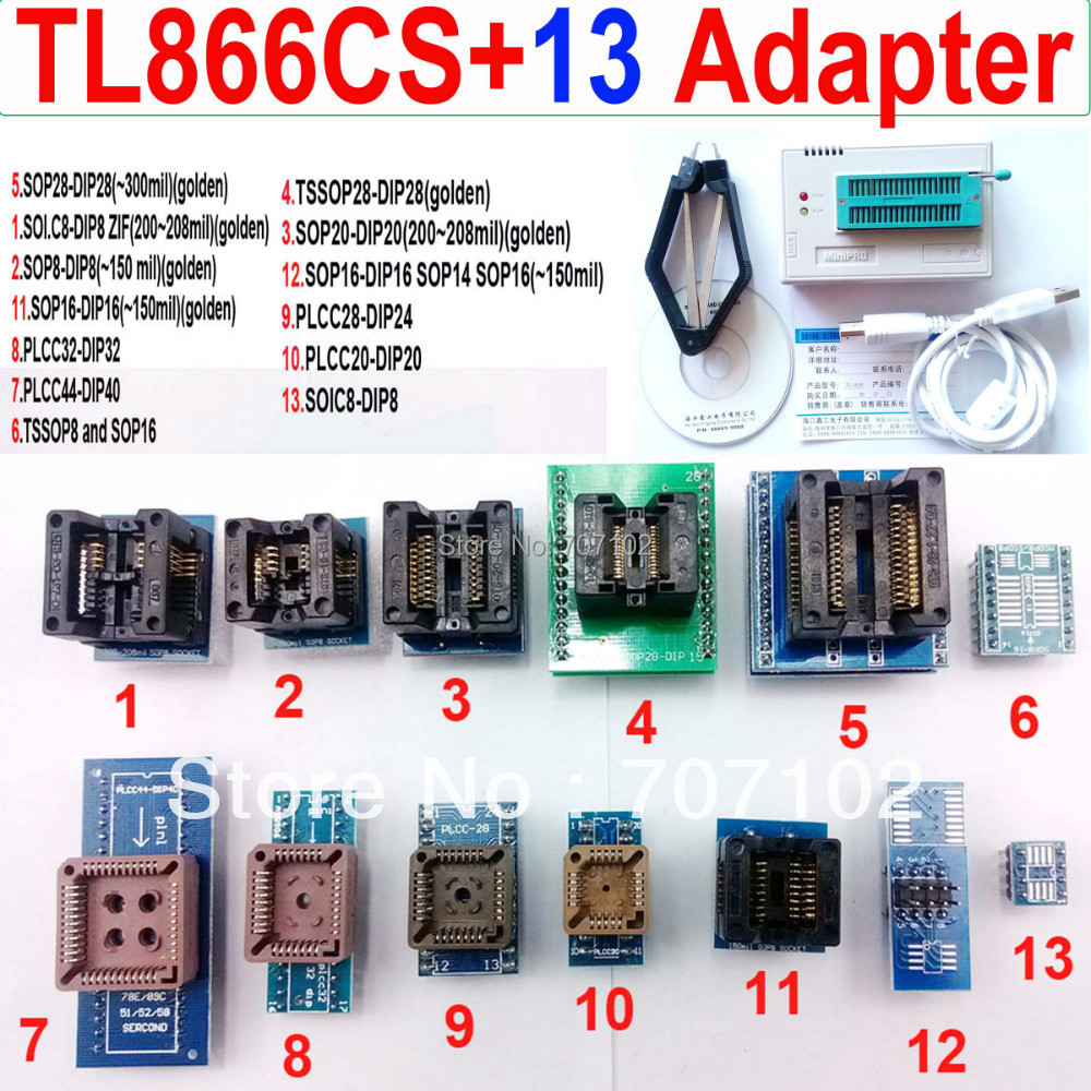 TL866CS programmer +13 universal adapters PLCC Extractor TL866 AVR PIC Bios 51 MCU Flash EPROM Programmer Russian English manual(China (Mainland))