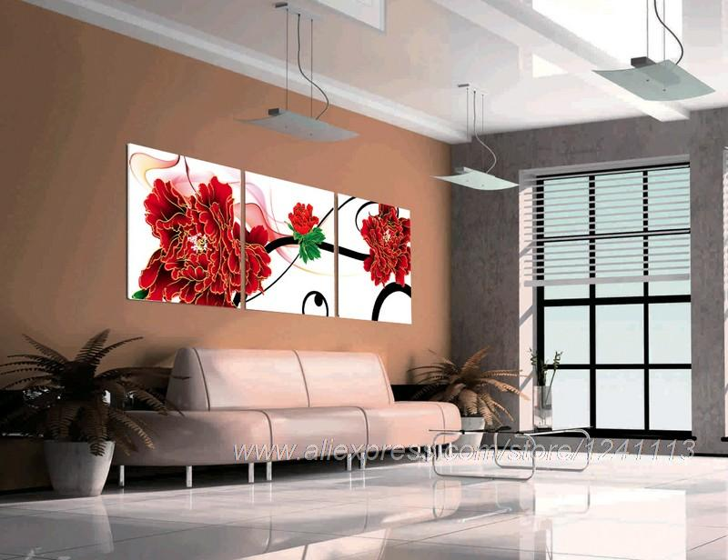 Red peony reproduction print on canvas dining room 3 set for Red dining room wall art