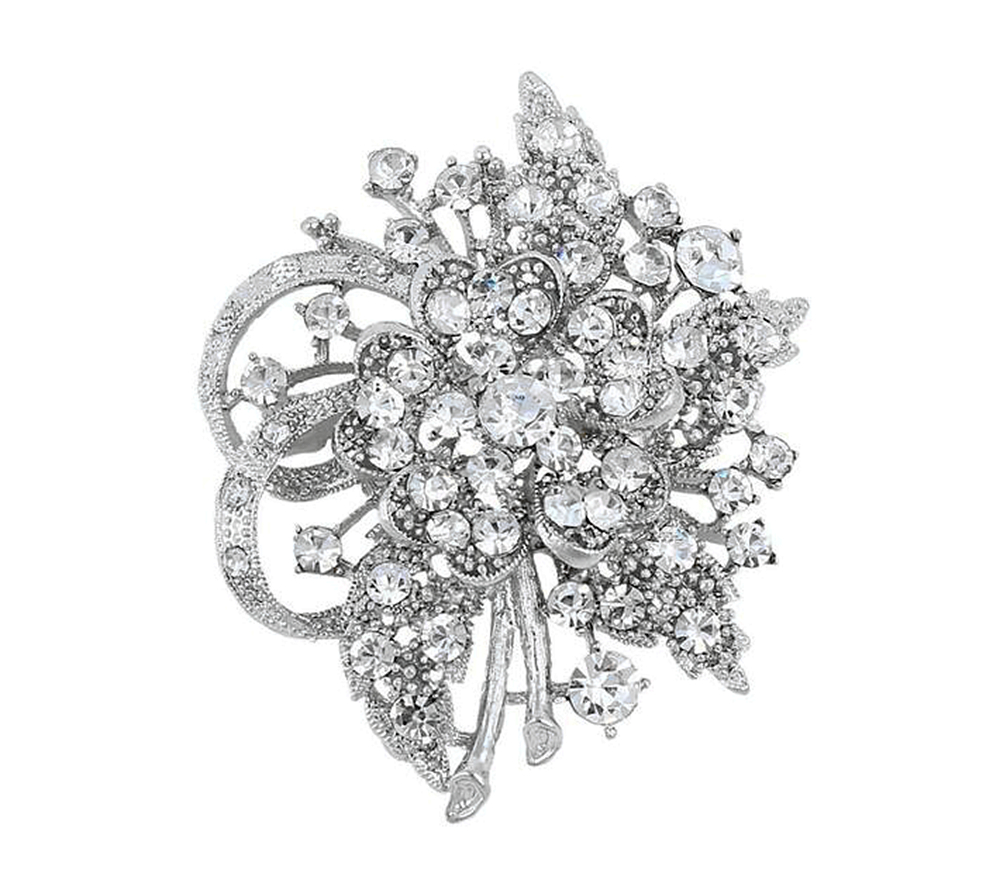 Vintage Look Clear Rhinstone Crystal Diamante Flower Brooch Prom Party Pins - Yiwu Liangqian Accessories Firm (Mini Order>$8 store)
