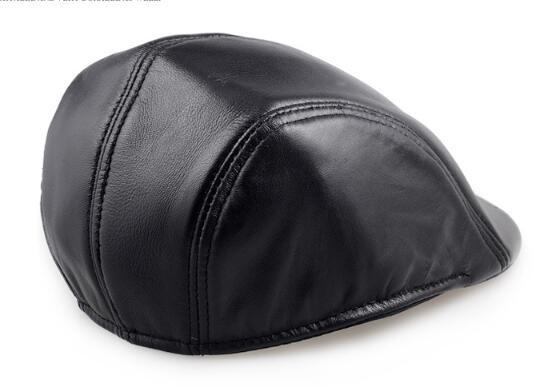 sheepskin leather beret caps 4