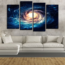 Home decor modern wall art panels 4 piece space stars pictures print canvas painting on the wall for living room bedroom decal(China (Mainland))