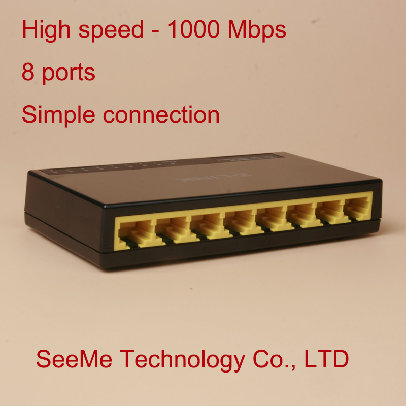 Network Switch, Gigabit switch,1000M speed, 8 ports, 1000Mbps, Z-link ZL-SG08, Ethernet switch, simple connection(China (Mainland))