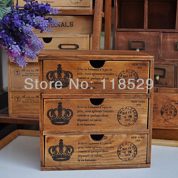 Vintage Style Wooden Storage Box Drawers Jewelry Case Multi-function Organizer Desktop Decoratoin, #61006 - J&P Home Store store