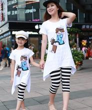 2015 family look mother and daughter clothes summer women girls clothing sets sport suit cartoon t-shirt+leggings