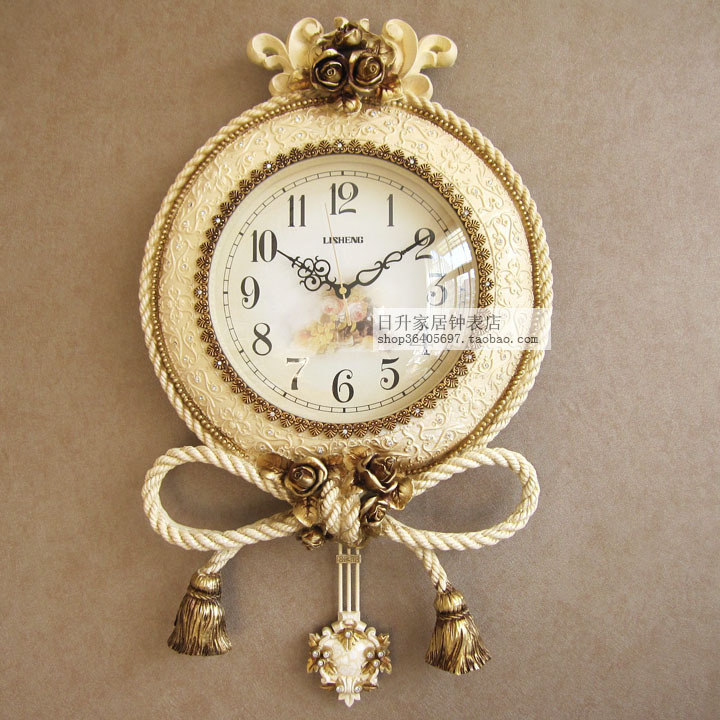 Free shipping Continental mute living room wall clock pendulum clocks Creative Arts personality quartz wall clock hanging table(China (Mainland))