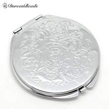 "Silver Tone Carved Make Up Compact Mirror 6.6x6.2cm(2-5/8""x2-1/2""), sold per packet of 1(China (Mainland))"