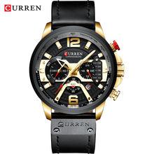 Montre-bracelet hommes CURREN 2019 Top marque de luxe montre de sport hommes mode montres en cuir avec calendrier pour hommes noir mâle horloge(China)