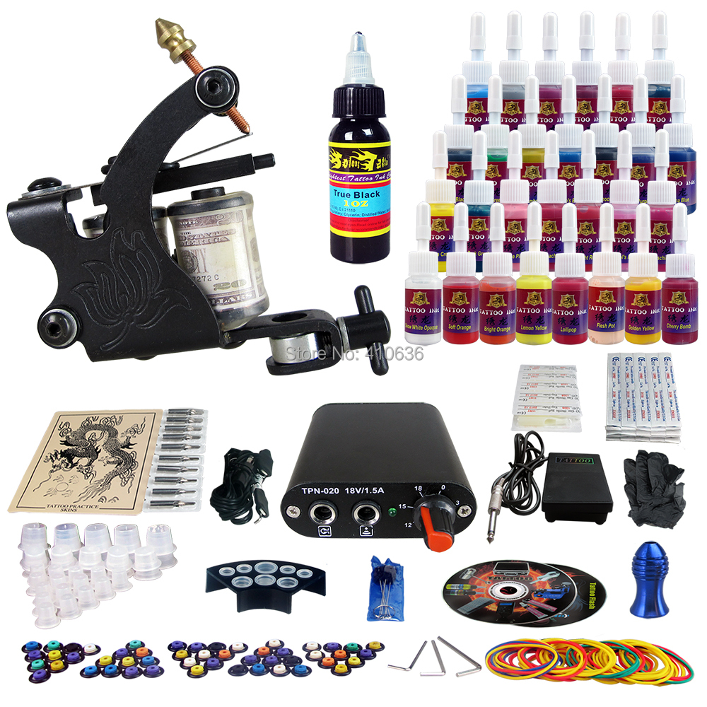Wholesale - cheap tattoo kits for beginners 1 tattoo guns Power Supply TK103 free shipping(China (Mainland))