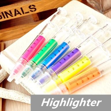 60 pcs/Lot syringe Highlighter pen Fluorescent Marker Liquid chalk pen Luminescent pen Stationery Office School supplies 6251