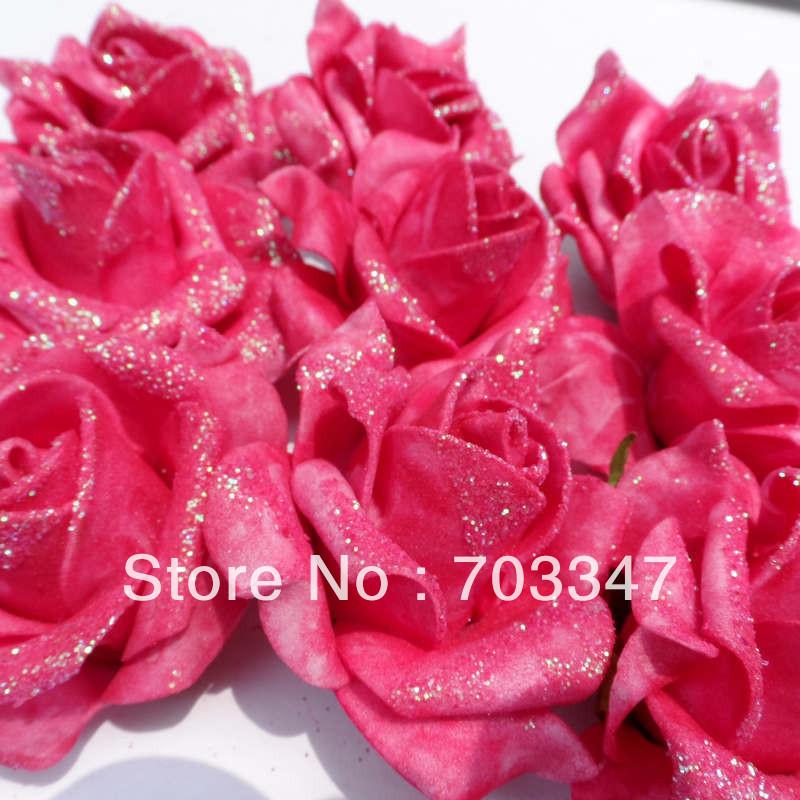 Hot Sale 500 X Glitter Artificial Foam Rose Head