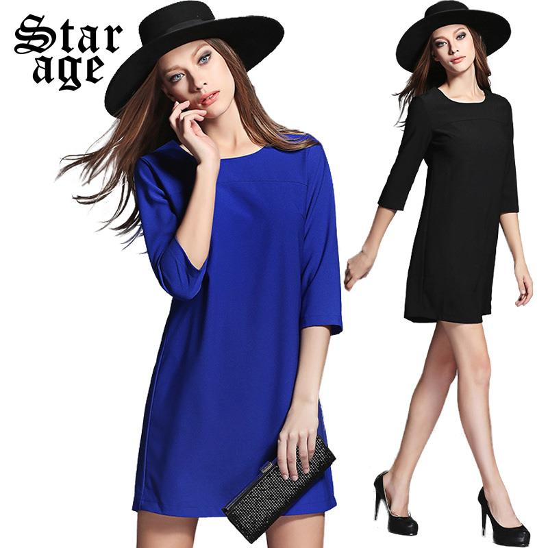 M-XXXXL Brand V Back Bow Three Quarter Sleeve Basic Women Winter Dress 2015 New Autumn Winter Fashion Plus Size Clothing 1300(China (Mainland))