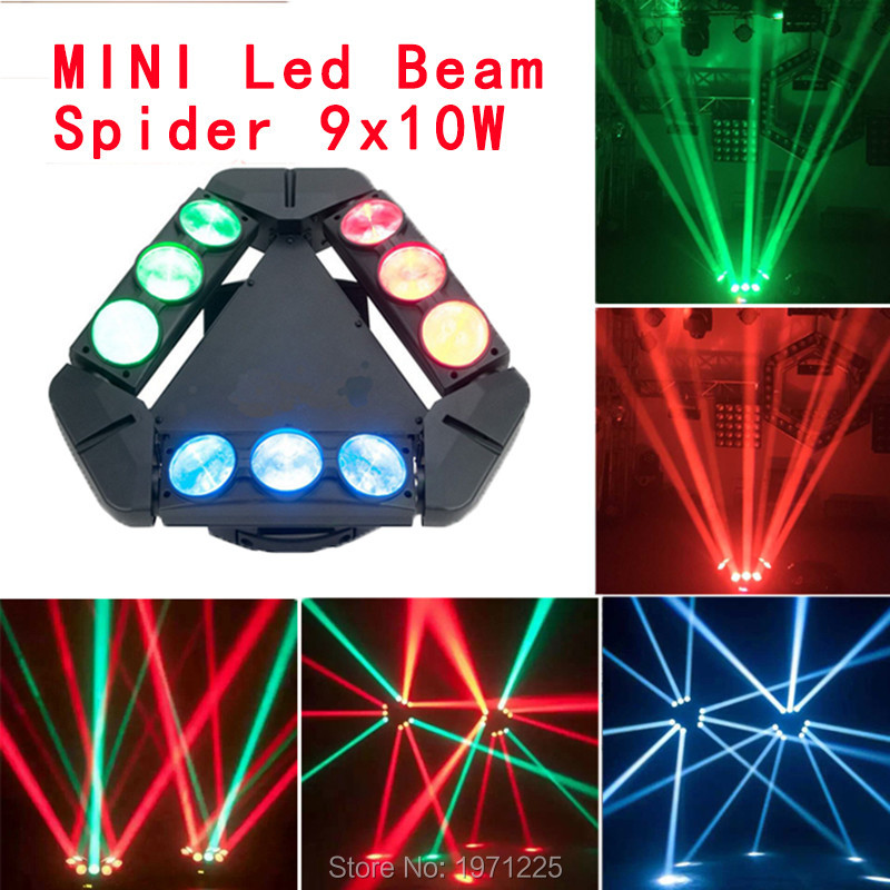 Free Shipping 2016 NEW Product Mini LED Stage Light 9 Eyes 10W RGBW Spider Beam Light Infinite Rotation Sueper Beam Light 150W(China (Mainland))
