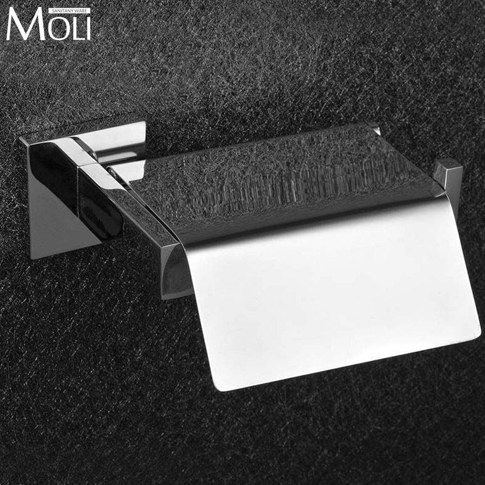 Stainless steel bathroom toilet paper holder with lid square waterproof toilet paper holders for bathroom accessories(China (Mainland))