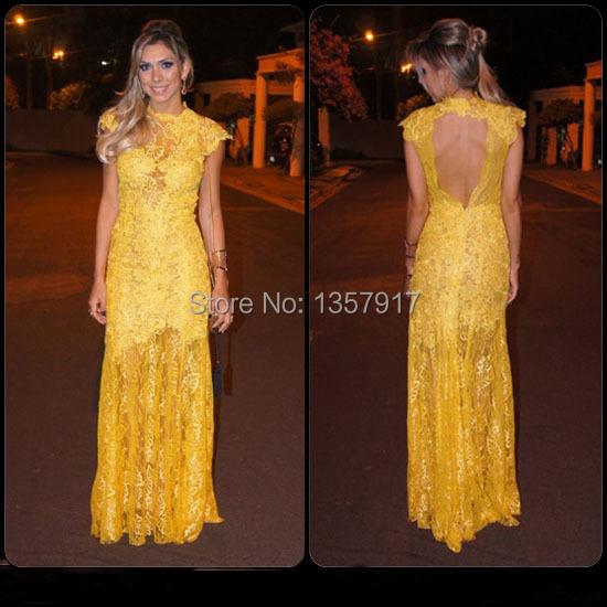 Hign Neck vestidos de fiesta formatura Yellow Long Lace Evening Dress Backless vestido de festa longo Formal Dres(China (Mainland))