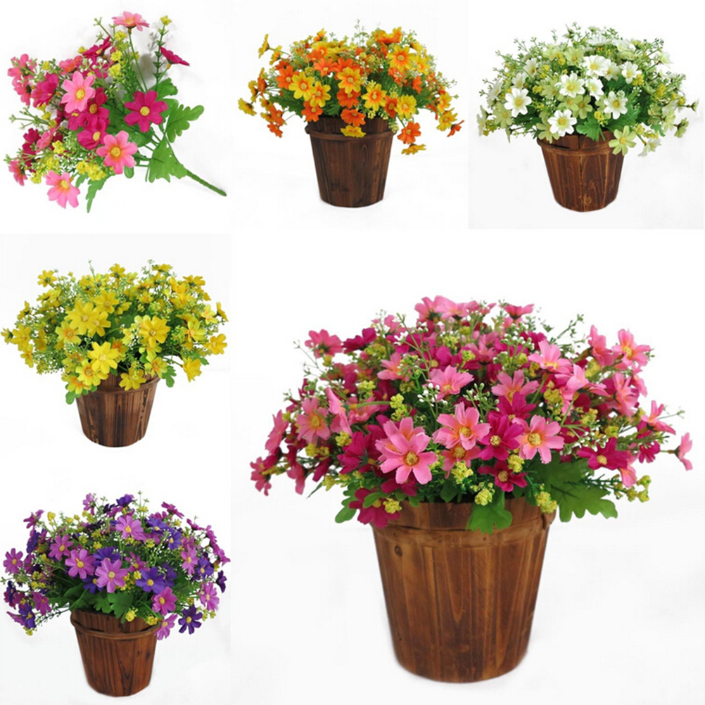 2016 New Fashion 1 Bouquet 28 Heads Fake Daisy Artificial Silk Flowers Home Decorations Wedding Party Supplies 1PC(China (Mainland))