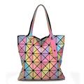 Newest 3D Rainbow Color Women Handbag Famous Brand Messenger Bag Geometry Sequins Plain Folding Crossbody Bag