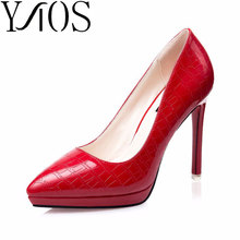 New 2016 Summer shoes Women Sexy Snake texture 10cm High heel Pump Lady Red Sole single