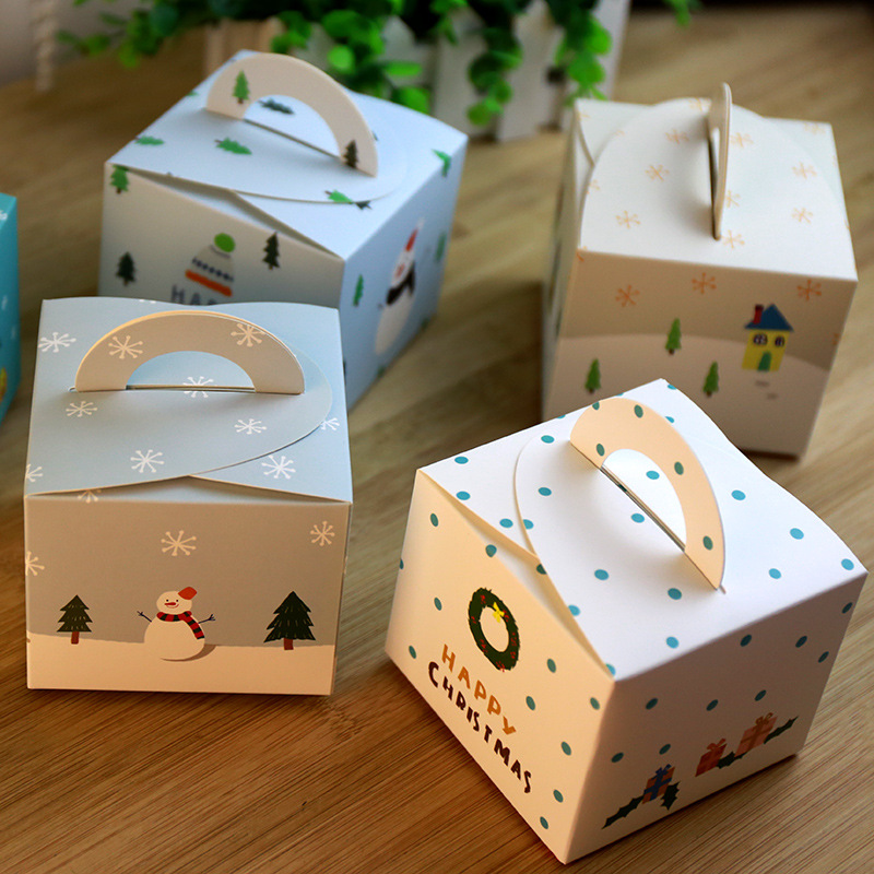 New cute merry christmas 5design portable paper food for Diy apple boxes