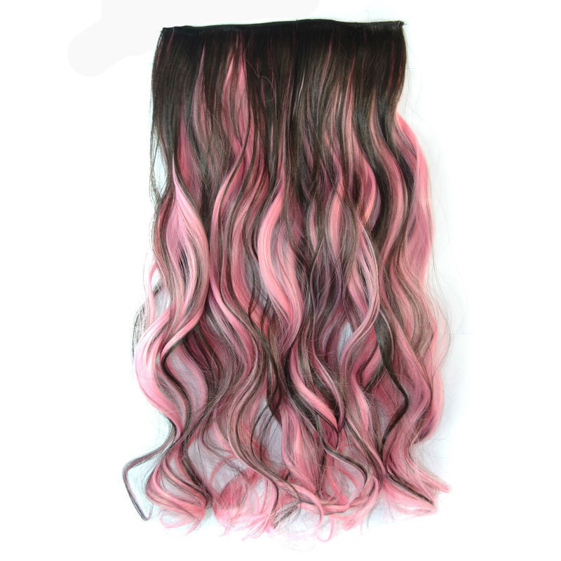 18 inch Synthetic Hair Piece Bleaching Dye Party Salon Clip Curly Extensions Black + Pink - liao zhaofu's store