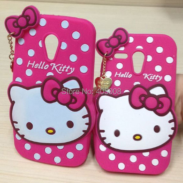 Cute Hello Kitty Case For Motorola Moto G Cartton Silicon Cover Phone Cases For Motorola Moto G 2 2nd Gen XT1063 XT1069 XT1068(China (Mainland))