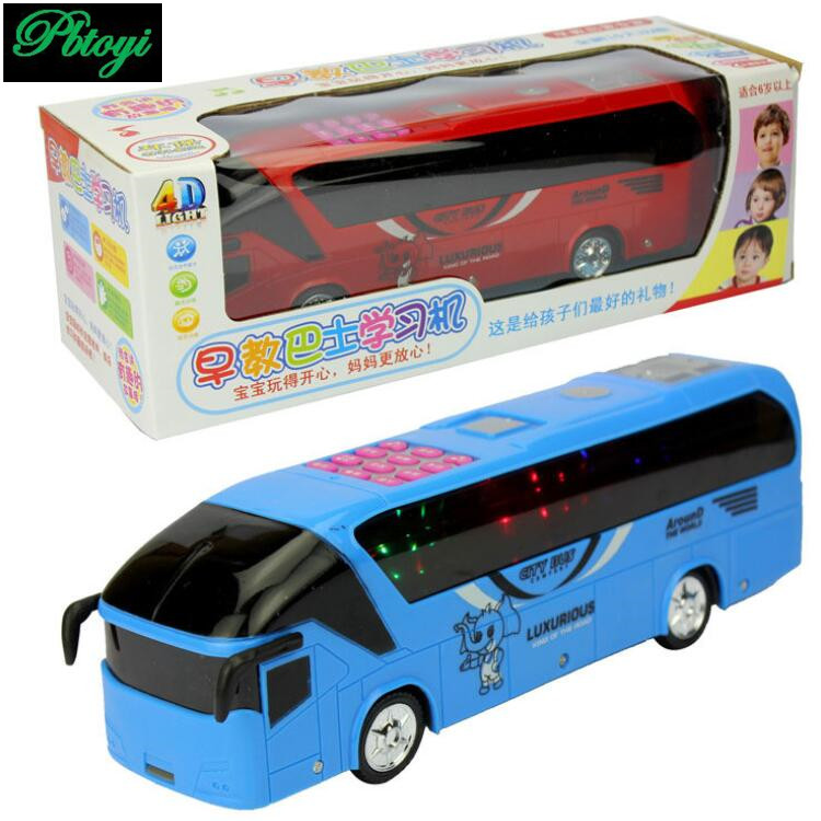 Electric bus early childhood music universal electric car puzzle model toys wholesale PC0266(China (Mainland))