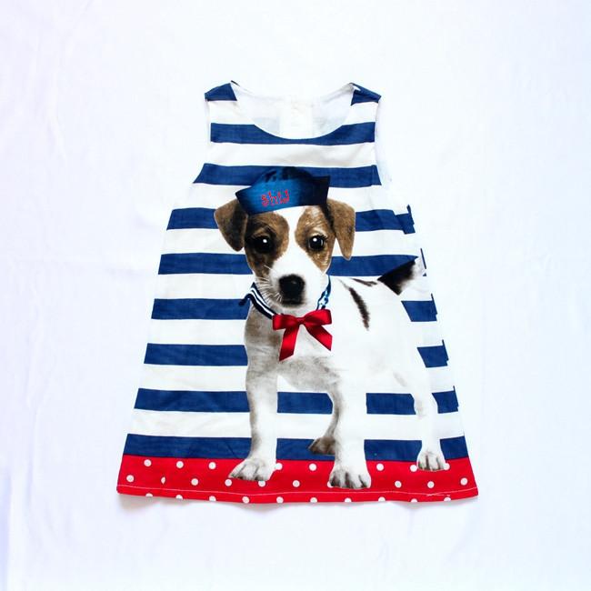 2016 Summer Cute Little Dog Cartoon Girls Dress Europe America Children Clothing - Wind style firm store