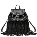 Women Edgy Fringed Backpack 2016 Fashion New Tassel Bag Genuine Leather Packsack Rivet Belt Buckle Daypack