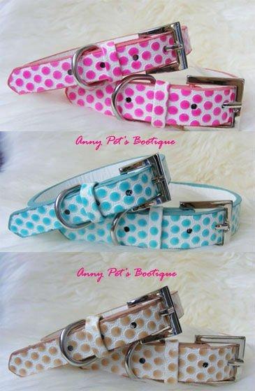 Wholesale 10PCS/lot L:2.0*42cm mix colors pink\blue\yellow PU leather dotted pet collar,dog collar,cat collar, free shipping!