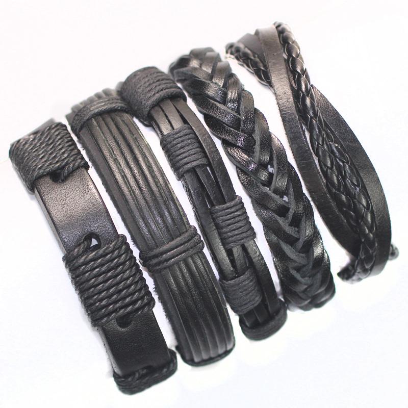 FL24-black wristband genuine braided wrap leather bracelets men 2015 bangles women femme pulseira masculina couro mujer - SunFlower Trade Co.,Ltd store
