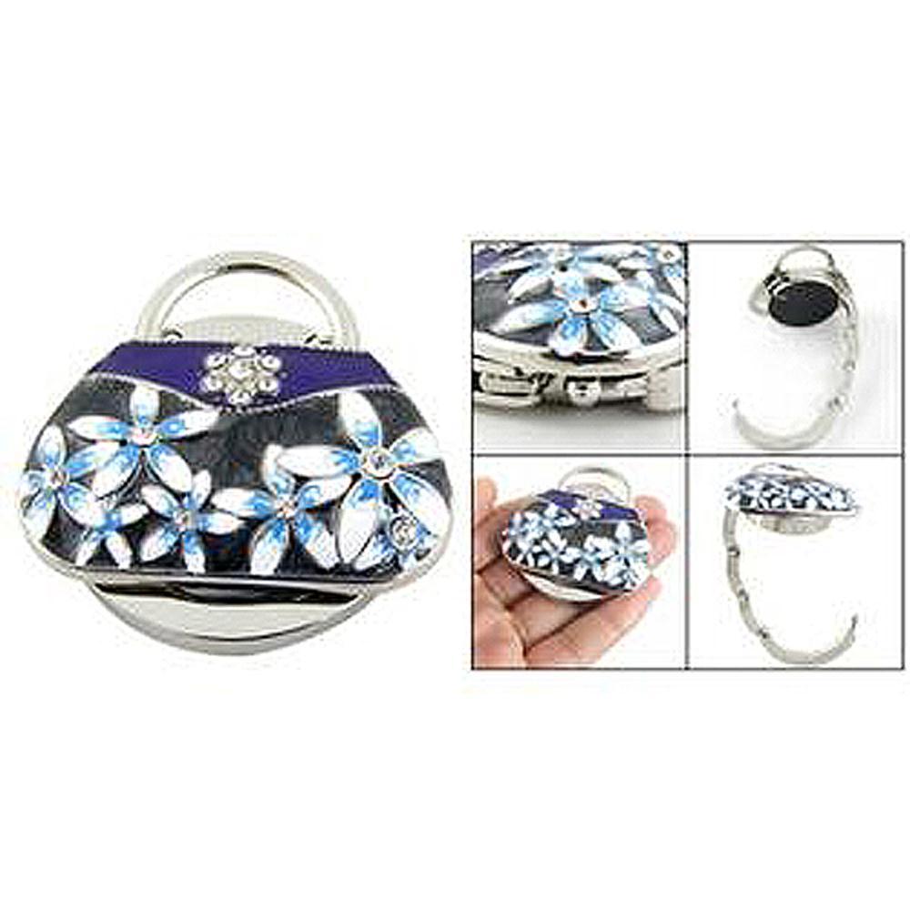 Portable Folding Rhinestone Crystal Handbag Bag Hanger Round Base RhInestone Handbag Purse Hook Holder Fast Shipping(China (Mainland))