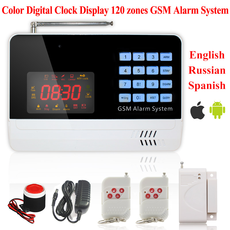 6120G Color Screen Digital Clock 120 Wireless Defense Zones APP Control Home Security GSM Alarm System Wireless Remote Control(China (Mainland))