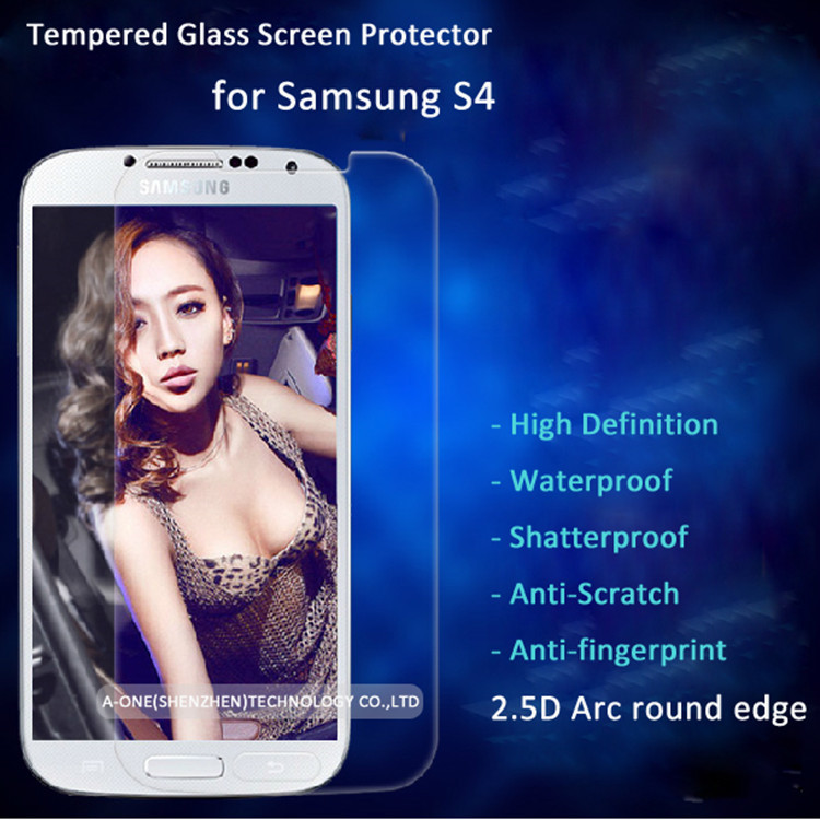 2015 Super Hot Wholesaler Tempered Glass Screen Protector Mobile Phone Accessory Protector Film Film Protector for Samsung S4(China (Mainland))