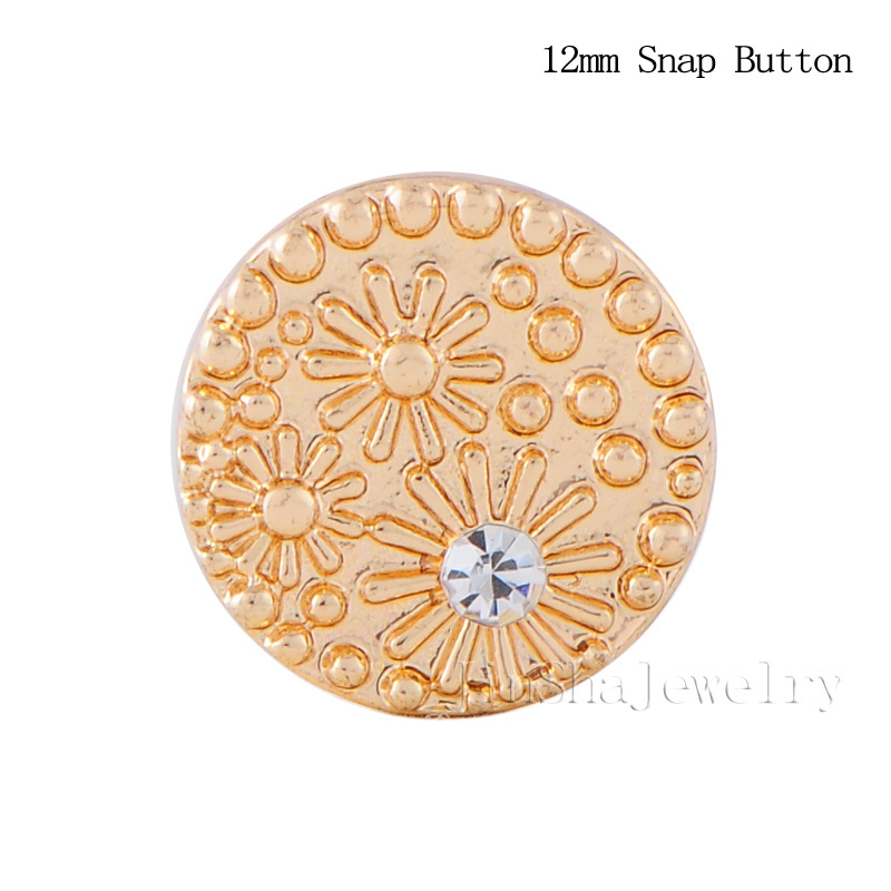 2 Interchangeable Jewelry Accessory Inlay Crystal Gold Snow Shape Small 12mm Snaps Button JS12113 - Jinsha Designs store