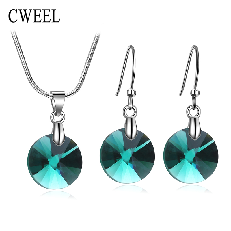 CWEEL Imitated Crystal Pendant Necklace Earrings Set Women Vintage Jewelry Sets Silver Plated Bridal Wedding Choker - . Store store