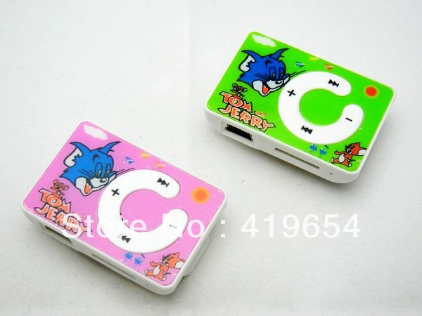 Tom and Jerry Cartoon Children Mini Clip MP3 Player Can Choose Colors 5pcs Free Shipping(China (Mainland))