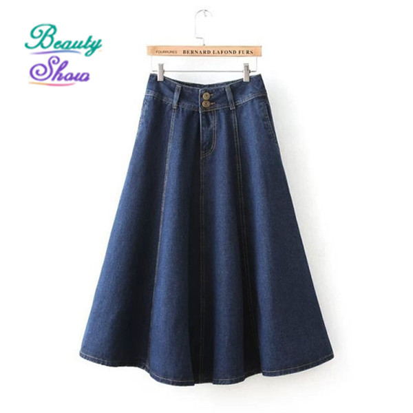 button open high waist denim womens skirts european style