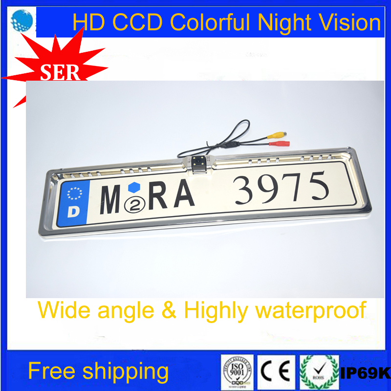 2016 Free Shipping! HD CCD Car European license plate frame Reverse Rearview backup CCD Car Rear View Camera(China (Mainland))