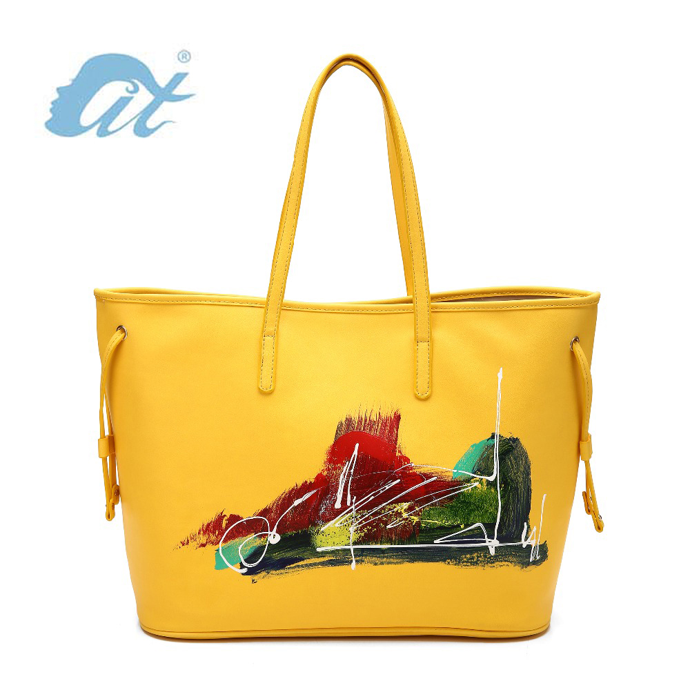 Free Shipping! 2016 Promotion Artistic Fashion Versatile Totes Casual String Handbag with Abstract Style Oil Masterpiece(China (Mainland))