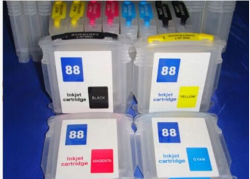 RIC Refillable Ink Cartridges for HP 88XL 88 with Auto Reset Chips - 4pk (BCMY)(China (Mainland))