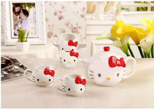 Drinkware Tea Kettle,5pieces/lot High Quality Hello Kitty Tea Pot ,Novelty Tea Set,Free Shipping Porcelain Tea Set