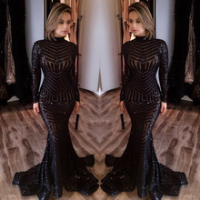 Black Long Sleeve Sequin Prom Dresses 2017 Mermaid High Neck Chiffon Zipper-Up Court Train(China (Mainland))