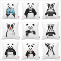 Black White Bed Funny Panda Bulldog Dog Print Car Decorative Throw Pillowcase Pillow Case Cushion Cover