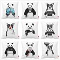 Black White Bed Funny Panda Bulldog Dog Print Car Decorative Throw Pillowcase Pillow Case Cushion Cover