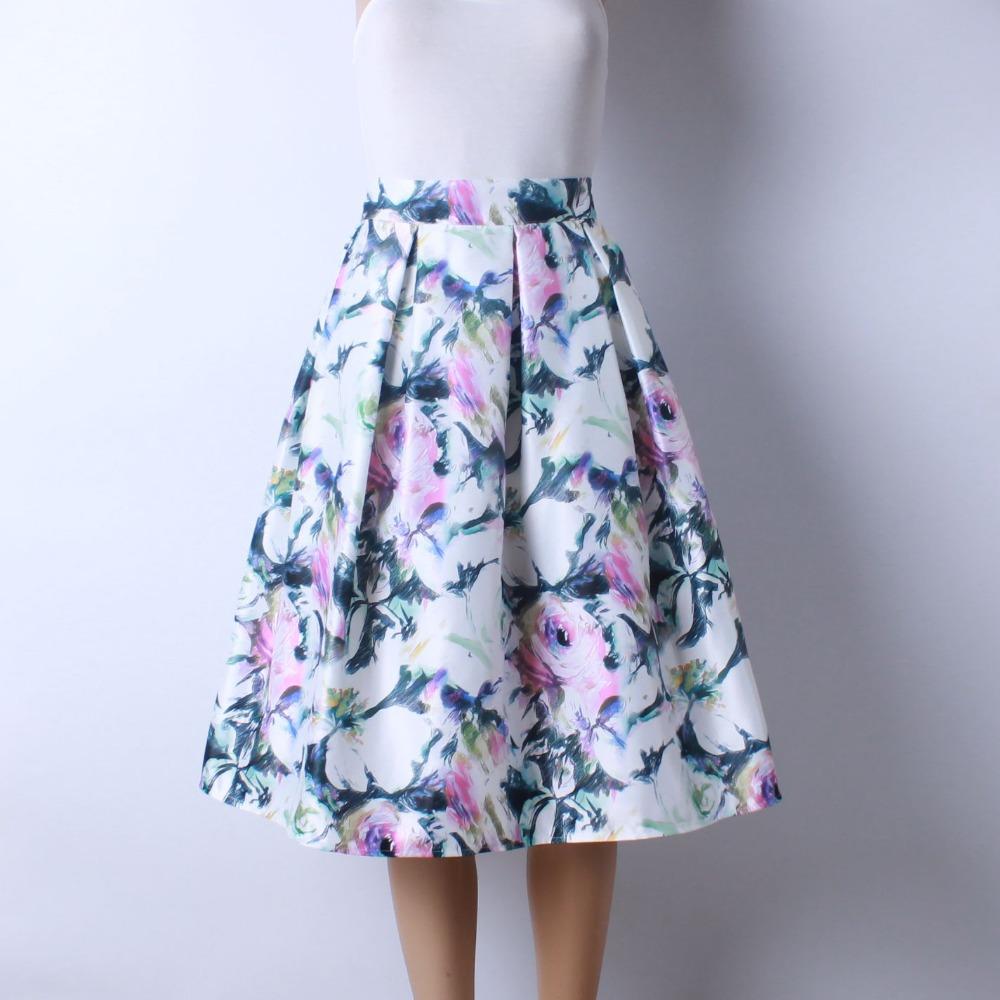 HTB1P5qaQFXXXXXjaXXXq6xXFXXXI - GOKIC 2017 Summer Women Vintage Retro Satin Floral Pleated Skirts Audrey Hepburn Style High Waist A-Line tutu Midi Skirt