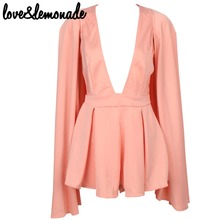 Buy Love&Lemonade Pink V-Neck Cape Jumpsuits TB 9300 for $31.99 in AliExpress store